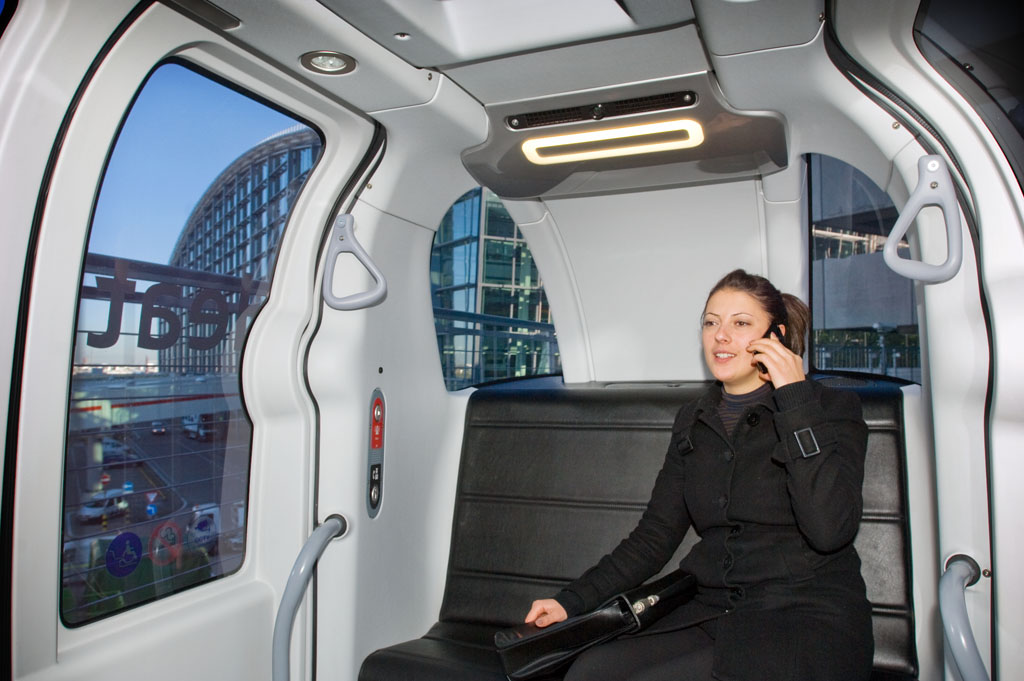 Passenger using Heathrow Pod