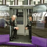 Minister for Universities and Science the RT Hon David Willetts given a tour of a pod at Intelligent Mobility Showcase